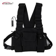 Saco de peito rádio universal carry case para walkie talkie peito bolso preto mochila para rádio comunicador para rádios duplos