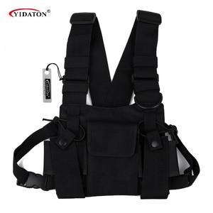 Image 1 - Saco de peito rádio universal carry case para walkie talkie peito bolso preto mochila para rádio comunicador para rádios duplos