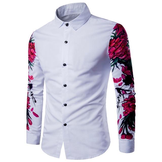 42116f331 Mens Casual Long Sleeve Shirt Business Slim Fit Shirt Printed Blouse Top  white shirts camiseta camisa social masculina gomlek