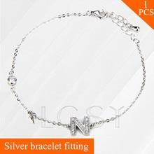 Lgsy mujeres joyería plata esterlina 925 montaje con perla, letra N langosta pulsera de perlas encanto accesorio