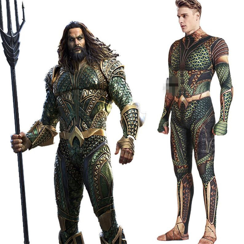 Movie Aquaman Atlantis Arthur Curry / Orin Cosplay Costumes Zentai  Jumpsuits Adult Halloween Rompers