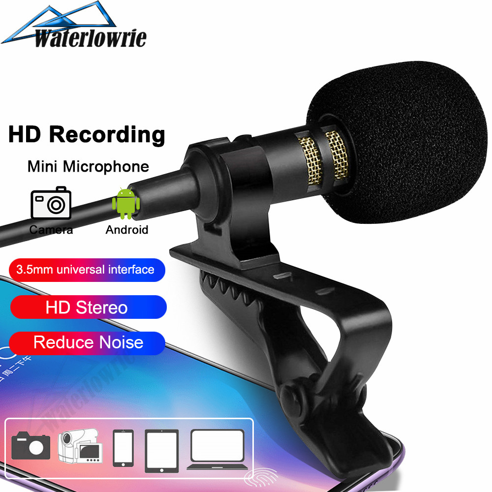 Lavalie Microphone 3.5mm Jack Tie Clip Microphones USB Audio Lapel Mic For IPhone Android Mobile Phone Camera PC Computer Laptop