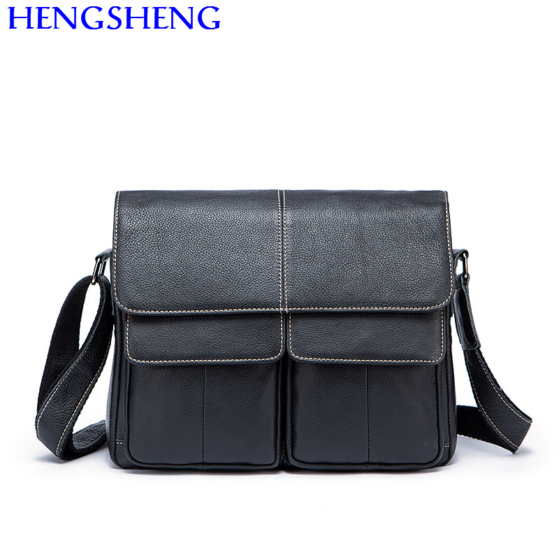 Hengsheng cheap price genuine font b leather b font men shoulder bag with hot selling cow