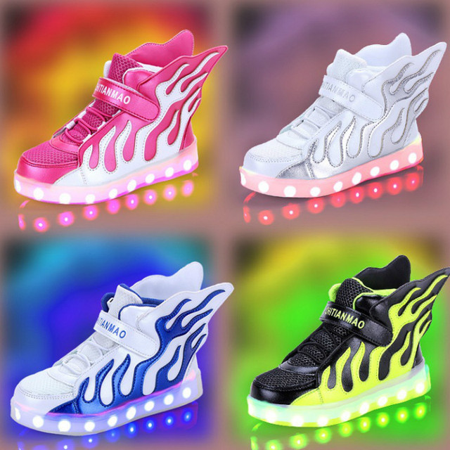 a53c2ec6d 7 Colors Children Sneakers LED Light Shoes usb charging Boys Girls Luminous Led  Shoes glowing kids shoes with lights wings