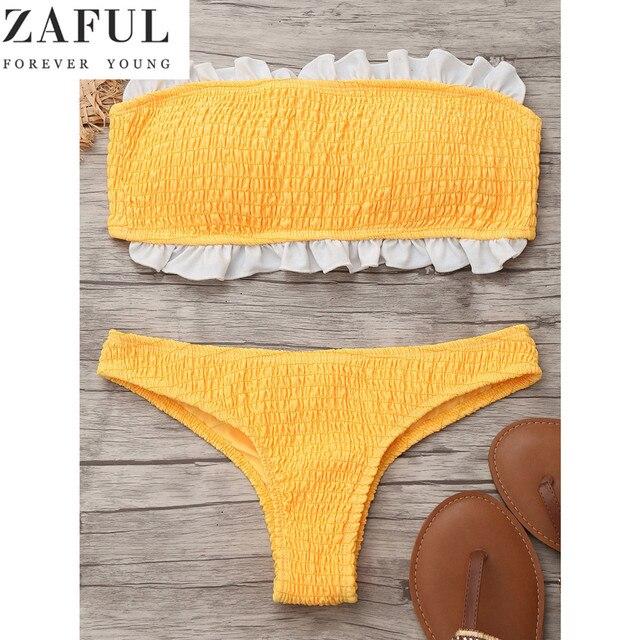 9f4997b4cc0c5 ZAFUL 2017 Cute Girl Swimsuit Ruffles Bandeau Smocked Bikini Set Bandage  Padded Swimwear Brazilian Push Up Bathing Suit Biquinis