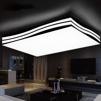Creative Wave Shape LED Ceiling Lights Remote Control Luminaire Plafonnier Suspended  Ceiling Lamps Square/rectangle 110v/220v In Ceiling Lights From Lights ...