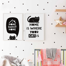 Black And White Cat English Sweet Phrase A2 A3 A4 Canvas Painting Art Print Poster Picture Wall Baby Room Living Home Decor