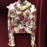 HIGH QUALITY New Fashion 2018 Winter Runway Designer Blouse Women's Gorgeous Floral Ruffle Blouse Shirt