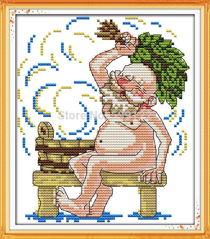 Happy Grandpa-Bathing DMC Cross Stitch 11CT 14CT DIY Needlework Counted Cross Stitch Kits for Embroidery Crafts Hobby Home decor
