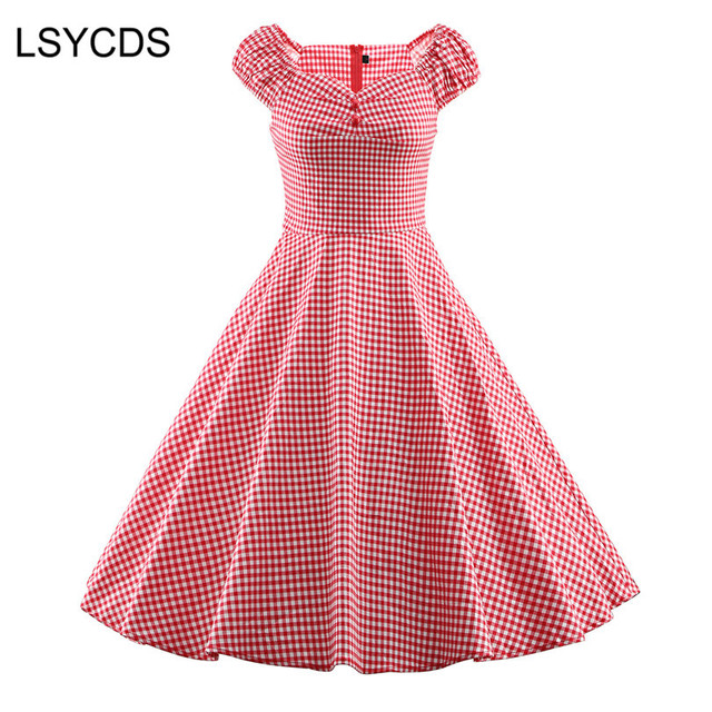 1e6ae91195b LSYCDS Vintage Dress for Women Plus Size 3XL Retro 1950s Rockabilly Swing  Feminino Vestidos Blue Black Red Plaid Dress