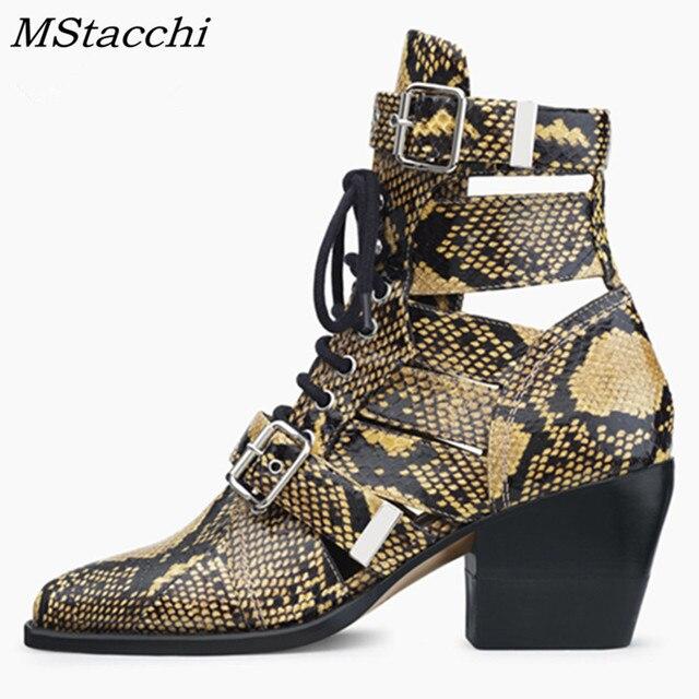 MStacchi Marka Tasarım Yılan Cilt Hakiki Deri Çizmeler Kadın Sivri Burun Yüksek Topuklu yarım çizmeler Toka Lace Up Kadın Botları