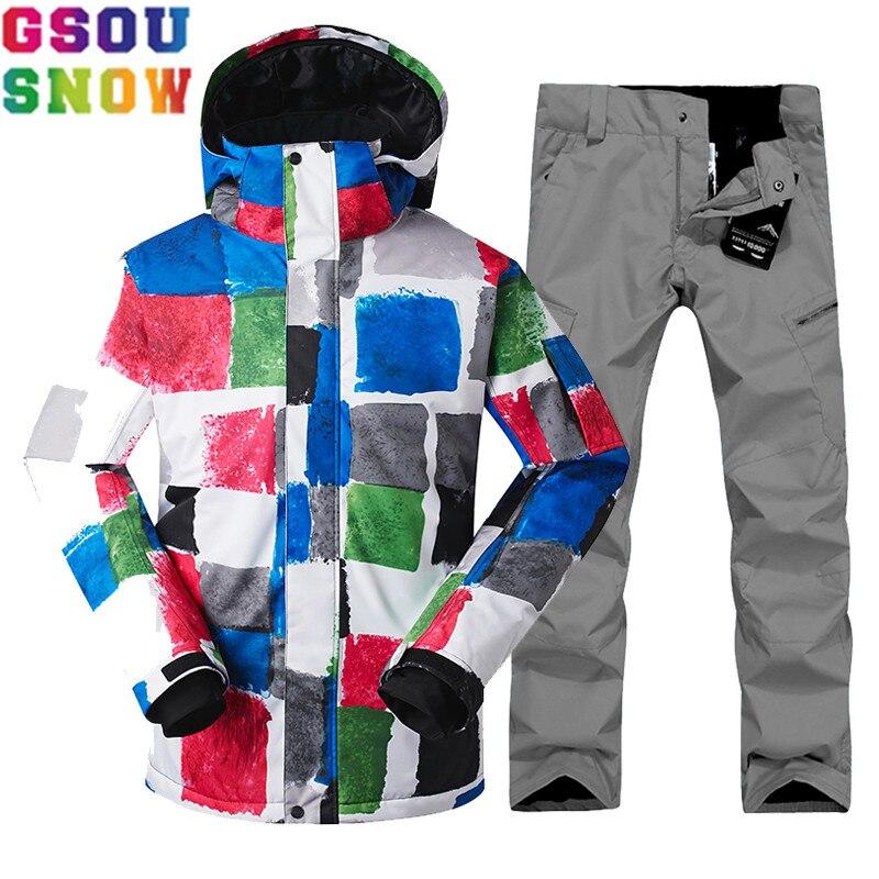 GSOU NEIGE Marque Hiver Ski Costume Hommes Ski Veste Snowboard Pantalon Mâle Ensembles de Ski Snowboard Étanche Sport En Plein Air Vêtements