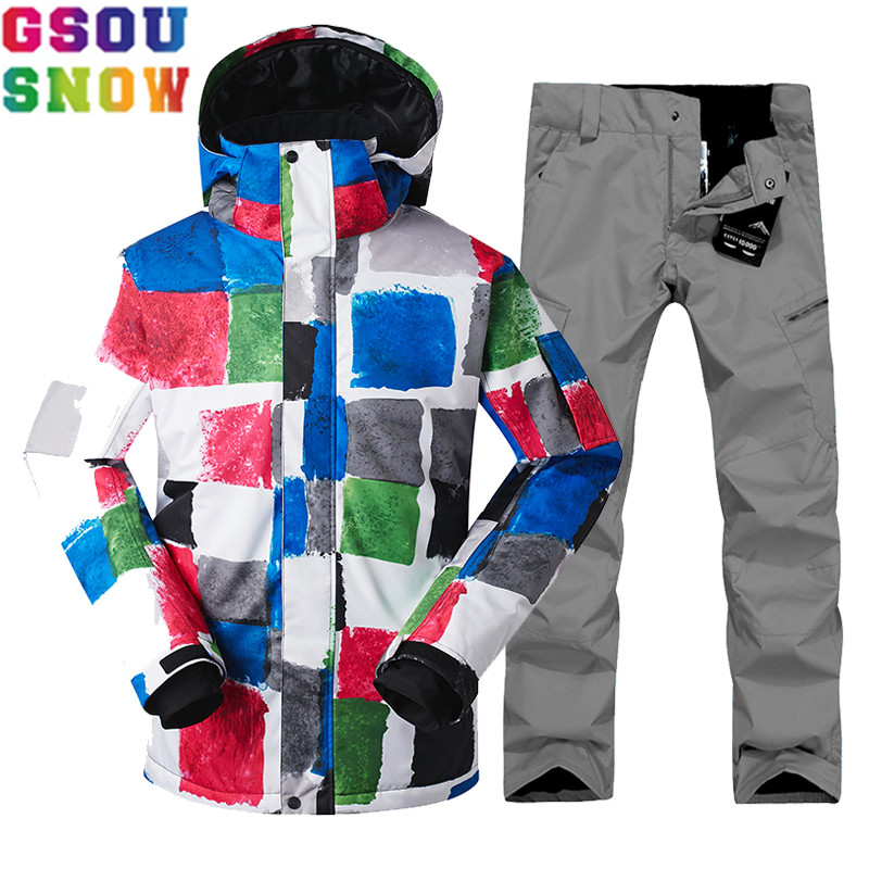 GSOU SNOW Brand Winter Ski Suit Men Skiing Jacket Snowboarding Pants Male Ski Sets Snowboard Waterproof Outdoor Sport Clothing gsou snow brand ski suit men ski jacket pants snowboard sets waterproof mountain skiing suit winter male outdoor sport clothing