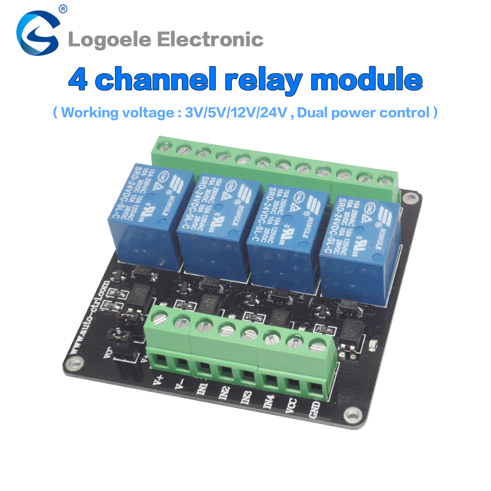 4 channel 3V/5V/12V/24v relay module relay expansion board control board with optocoupler isolation double power supply v