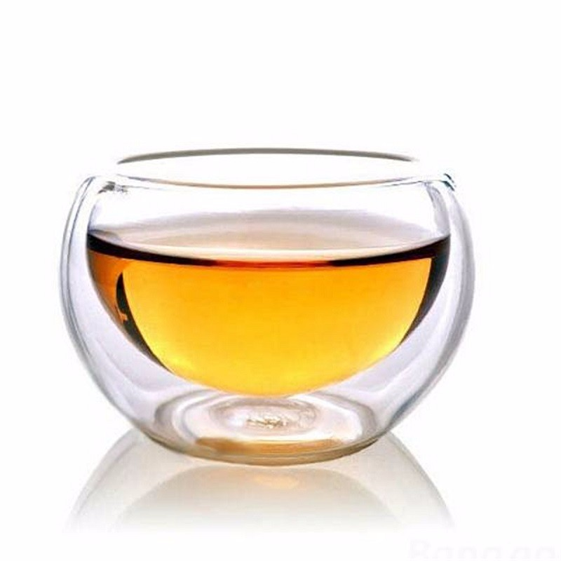 50ML Elegant Clear Drinking Cup Heat Resistant Double Wall Layer Tea Beer Cup Water Whisky Cup For Flower Tea