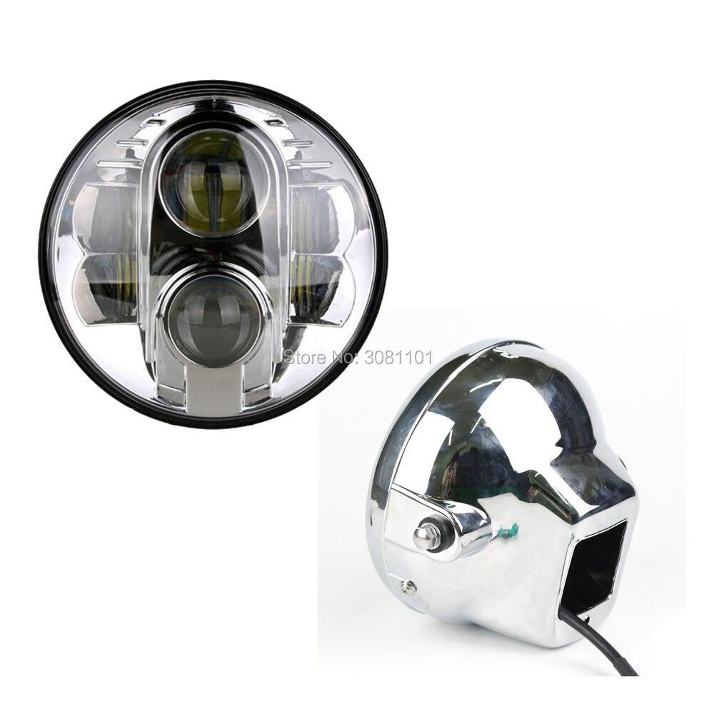 Set 7 inch 80W Round LED Headlight Projector Daymaker + Bracket Housing Shell for 2008-2016 Harley Davidson Softail Slim