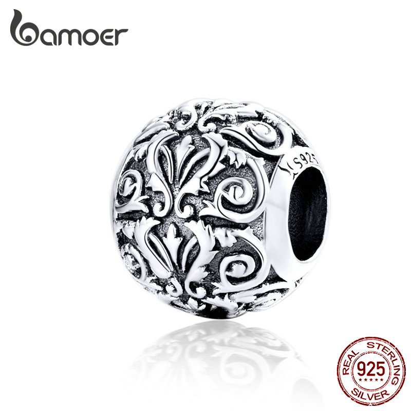 BAMOER Metal Round Beads for Jewelry Making 925 Sterling Silver European Engraved Pattern Silver Charm for BAMOER Metal Round Beads for Jewelry Making 925 Sterling Silver European Engraved Pattern Silver Charm for 3mm Bracelet SCC1179
