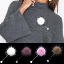 2019 nowy śliczny urok imitacja perły broszka przypinki dla kobiet koreański futrzana kulka Piercing Lapel broszki kołnierz biżuteria prezent dla dzieci dziewczyny tanie tanio HMIXN Miedzi Śliczne Romantyczny xz001 Moda Kobiety Piłka Pearl