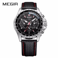 MEGIR Mens Watches Fashion Quartz Men Watch Casual Black PU Starp Clock Men Hot Sale Waterproof