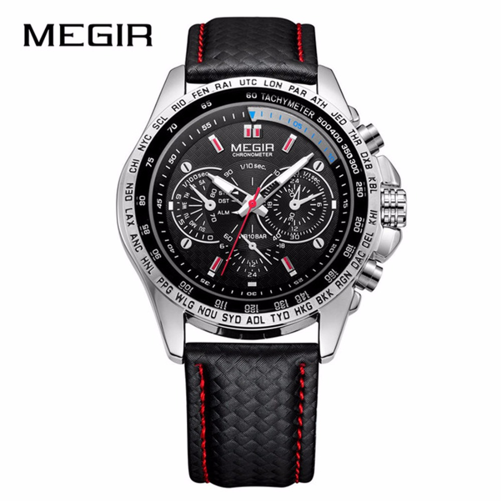 MEGIR Mens Watches Fashion Quartz Men Watch Casual Black PU Strap Clock Men Hot Sale Waterproof Watch Erkek Saat Relogio 1010