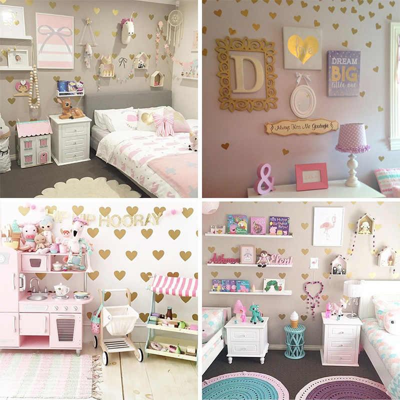 ילדה חדר זהב לב קיר מדבקות בייבי חדר ילדים חדר שינה קיר מדבקה לילדים חדר קל קיר עיצוב הבית