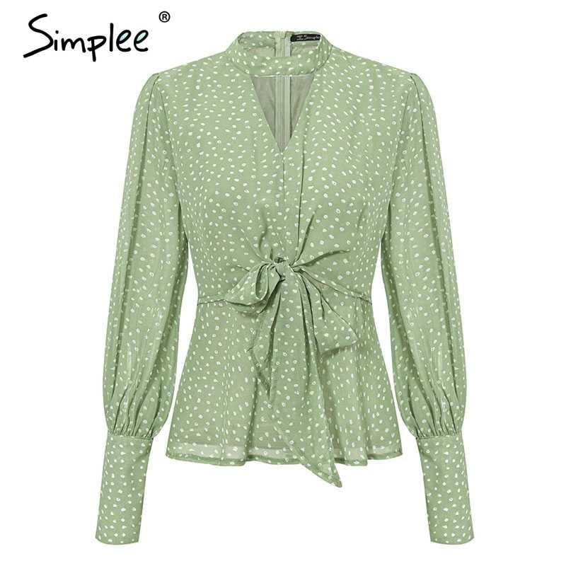 Simplee Vintage nokta baskı v yaka kadın şifon bluz gömlek papyon yüksek bel peplum üstleri Puf kollu kadın bluz gömlek tops