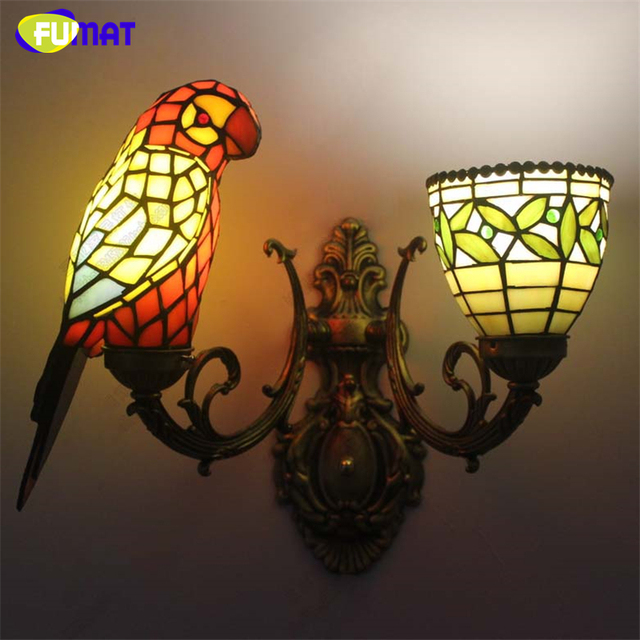 FUMAT Parrot Wall Lamp Sconce European Style Glass Parrot  Living Room Balcony Stair Wall Lamp Brief Mirror Lamp Hotel Project