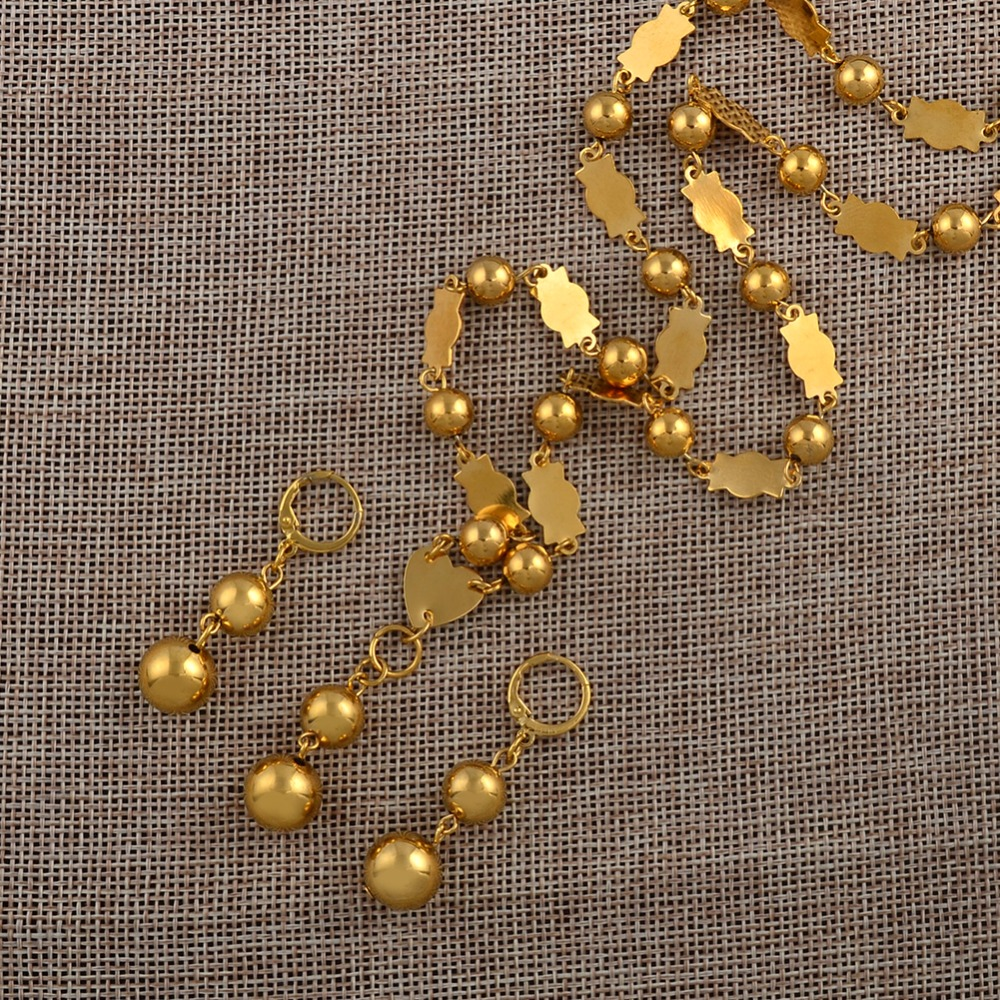 Anniyo 63cm Or 25 Inch / Beads Necklaces And Round Ball Earrings For Women Marshall Islands Gold Color Jewelry Gifts #106406P