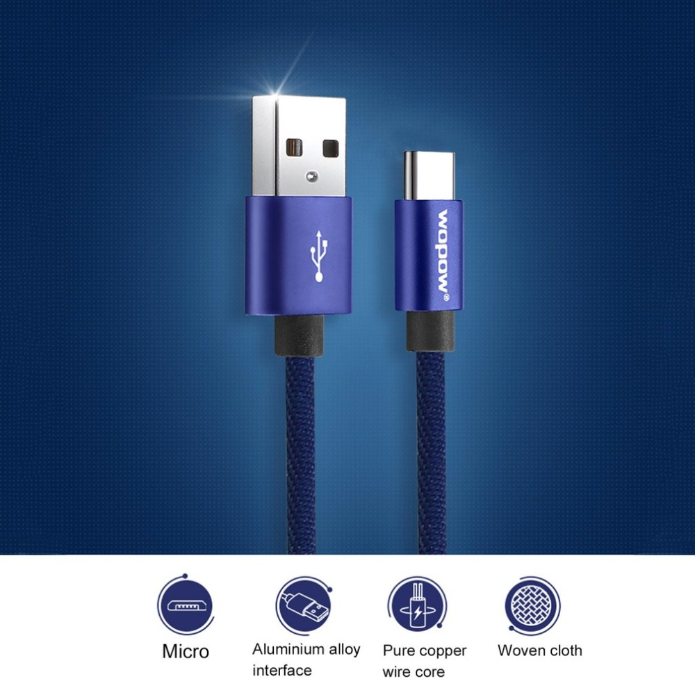 Wopow LT23 USB To Type-C Charge Cable 2.1A Fast Charge Stable Transmission 1m Data Line Aluminum Alloy Charging Interface