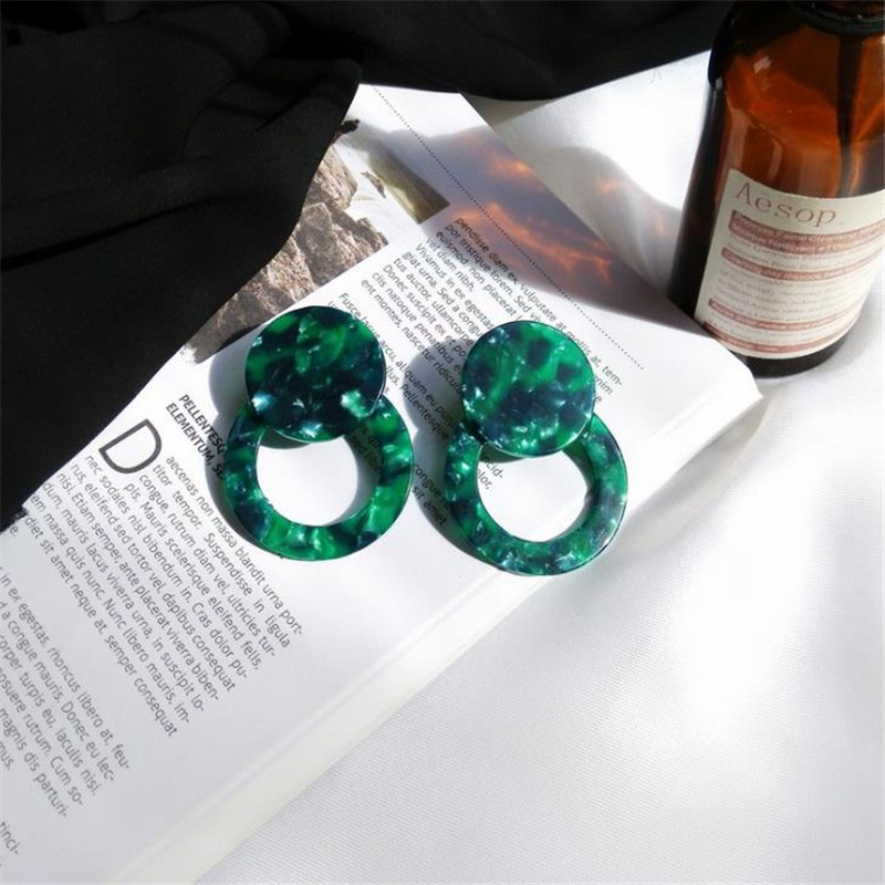 2018 Large Circle Round Earrings Acetate Acrylic Colorful Japanese Korean Tide Tide Exaggerated Earrings Jewelery Women Jewelry