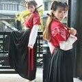 2016 de invierno camisa de media manga traje nacional chino cheongsam corto para mujeres ropa de moda de algodón y juego de la espiga
