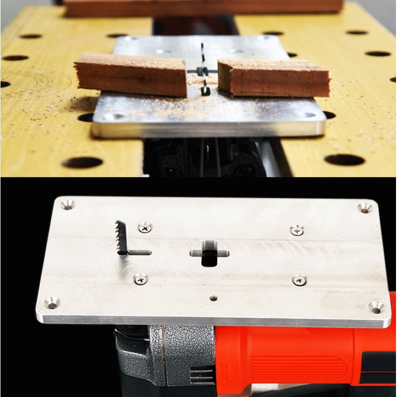 Aluminum Plunge Router Table Insert Plate Small Size Multifuctional Household for Electric curve saw woodworking tool