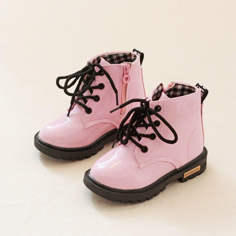 2019 novo inverno crianças sapatos de couro do plutônio à prova dwaterproof água martin botas crianças botas de neve botas da motocicleta moda tênis