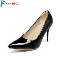 FAMSO 2019 New Arrival Women Pumps Shoes Big Size 34 43 Pointed toe Black red green Wedding Shoes Ladies Office Sexy Pumps Shoe