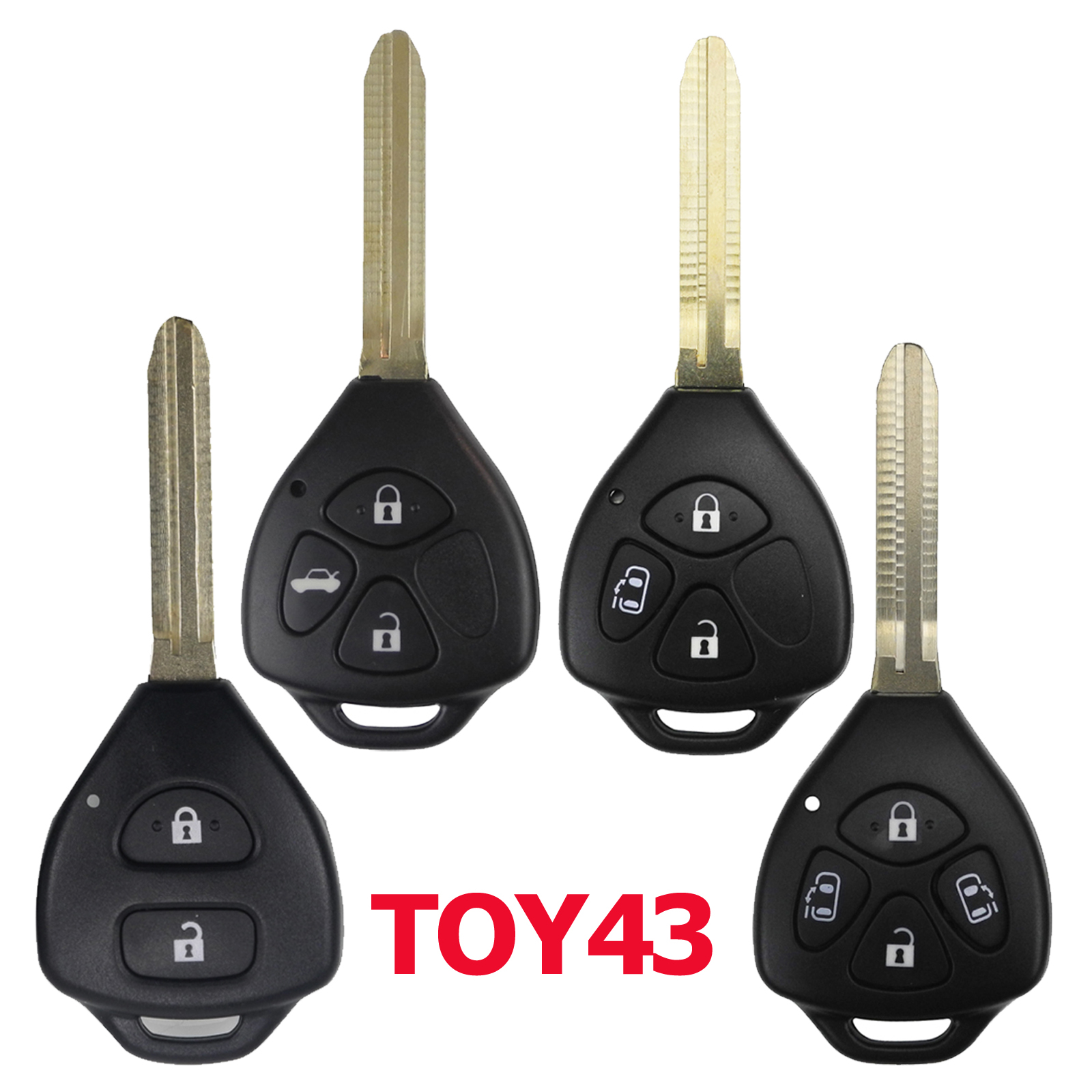 2/3/4 BTN Remote Car Key Case Shell FOB for Toyota Yaris Prado Tarago Camry Corolla RAV4 REIZ Crown Avalon Venza 2007-2012 TOY43(China)