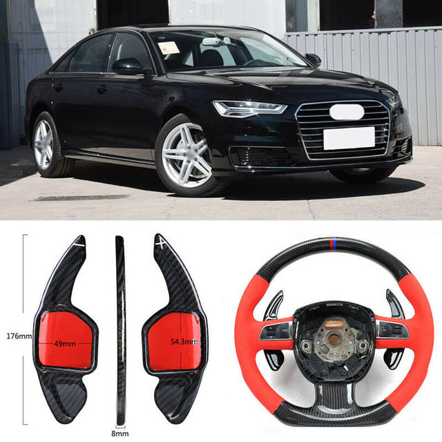 $ 104.33 Carbon Fiber Gear DSG Steering Wheel Paddle Shifter Cover Fit For Audi A6 2012-2018