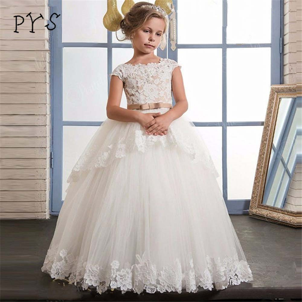 PYS Lace   Flower     Girl     Dresses   for Weddings Layers Pleated Ruffles   Girls   First Communion   Dresses     Girls   Special Occasion   Dresses