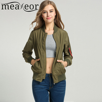 Meaneor Women Classic Solid Biker Slim Jacket Zip Up Short Bomber Jacket Coat With Pockets 2018