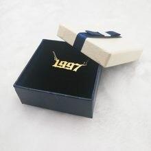 Número do ano personalizado colares para mulher 1997 1998 1999 2000 de 1980 a 2019 aniversário ano presente caixa pacote jóias