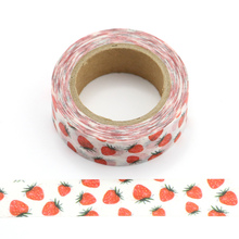 1pcs Cute Kawaii Strawberry Decorative Adhesive Tape Washi Tape Masking Tape cute kawaii lace adhesive washi tape flower decorative masking tape for home decoration photo album free shipping 3645