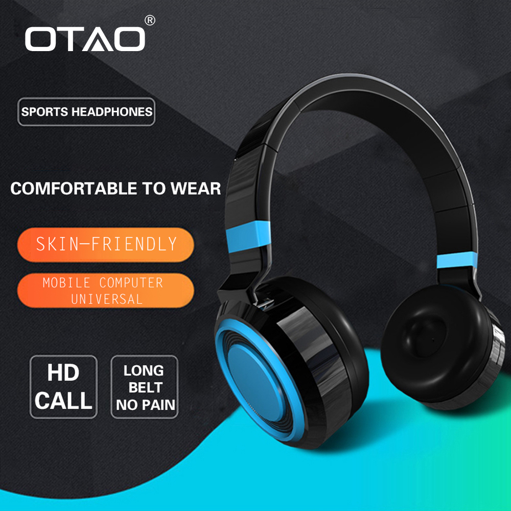 OTAO Wireless Bluetooth 4.2 Headphones Foldable Sport Earphone With Microphone HD Stereo Wired Headset For Mobile Phone For PC