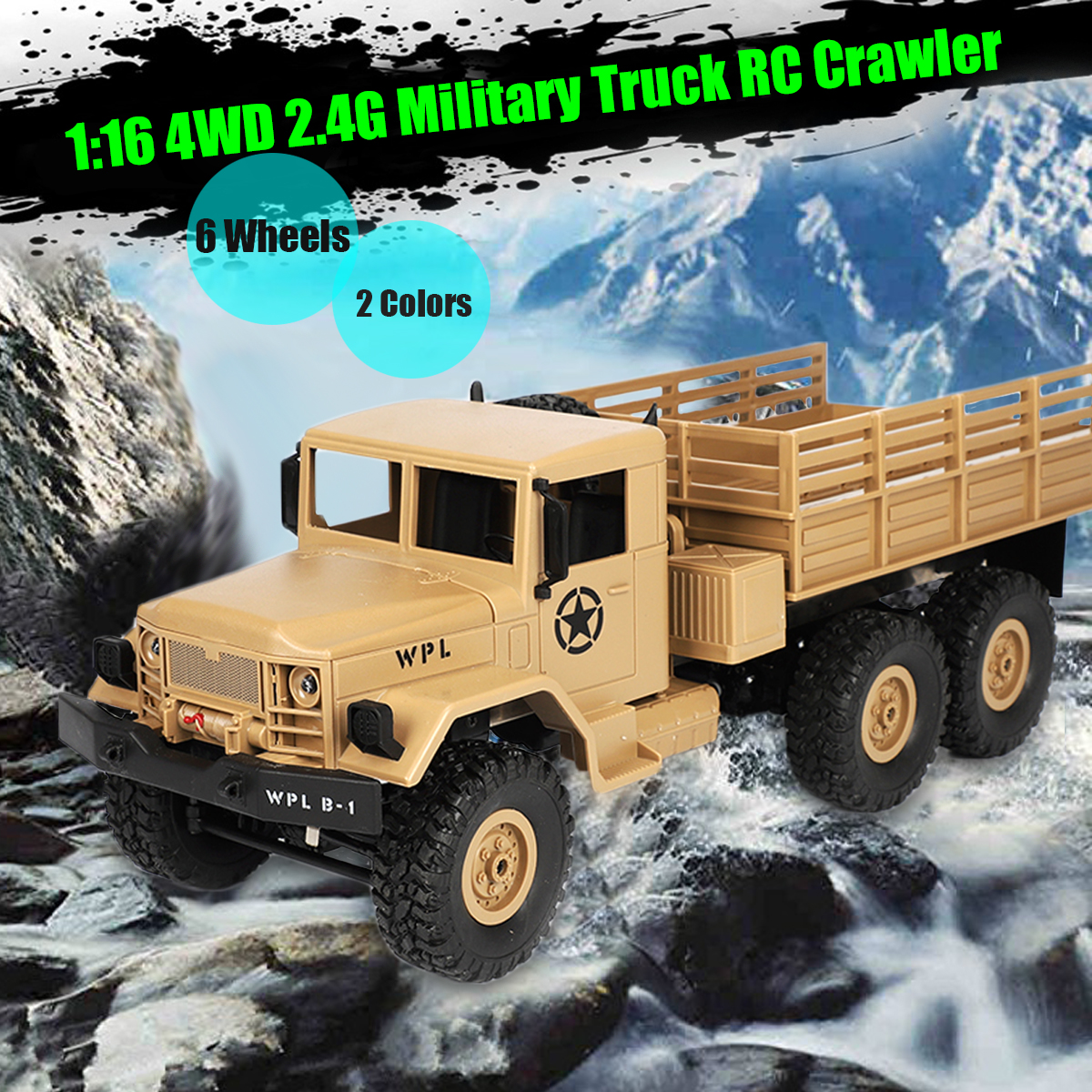RC Crawler Military Truck 1:16 2.4G 6WD 6 Wheels Off Road Rock Car Toy RTR Yellow/Green Reinforced?Plastic Chassis Headlights
