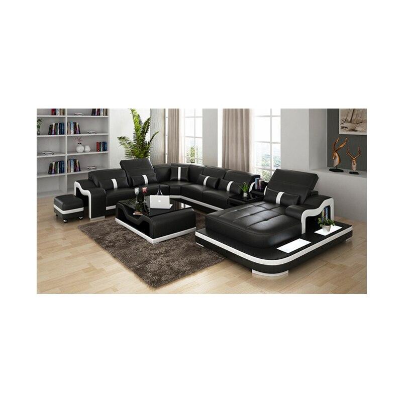 Furniture Living Room Furniture Black U-shape Living Room Furniture Sectional Sofa Set G8007 Fancy Colours