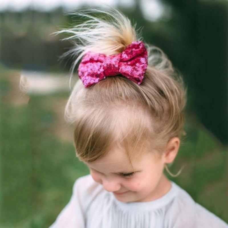Большой бантик для волос с пайетками, с зажимом для детей, для девочек, ручная работа, шикарный узел, бант, заколки, Блестящая лента для волос, аксессуары для волос, 13x9 см
