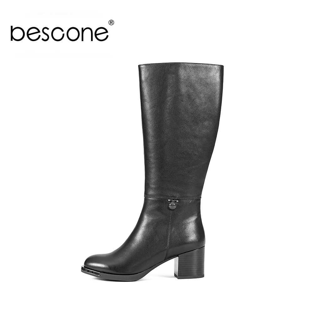 BESCONE hakiki deri kadın çizmeler yüksek kaliteli diz yüksek yuvarlak ayak ayakkabı düşük topuk moda Metal dekorasyon bayan botları BA01