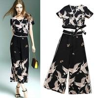 Designer Clothing Set Women Summer Spring Vintage Print Lace Up Short Blouses Tops And Open Leg