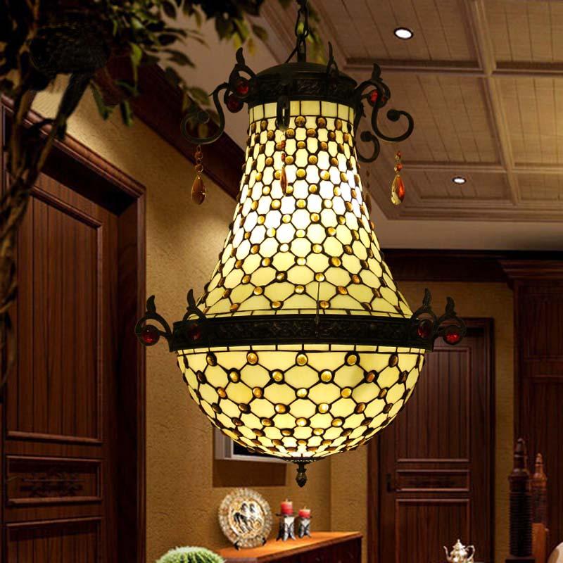 FUMAT Pendant Lamp Stained Glass Inlays Luminaria Lustre Hanglamp White Black Lighting Fixtures Ceiling Retro Pendant Light