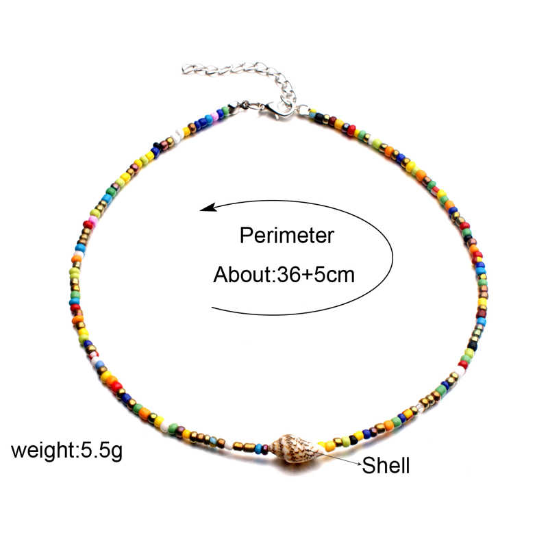 MOON GIRL Colorful Seed Bead Shell Choker Women Natural Cowrie Bib Collier Femme Bohemian Statement Vintage Collare Dropshipping