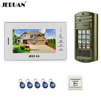 JERUAN NEW Metal Panel Waterproof Access password keypad HD Mini Camera 7`` Color LCD video door phone intercom System