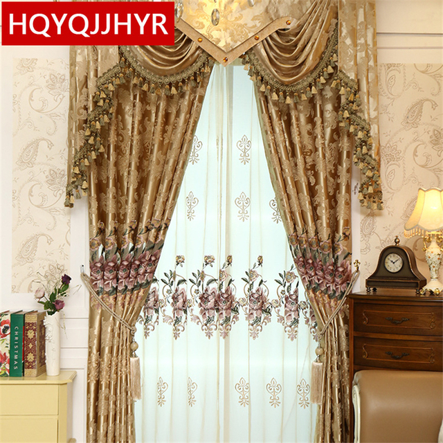 Customized Luxury European Embroidery Shade Curtain Fabric For Bedroom  Classic New Jacquard Curtains For Living Room